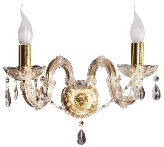 Kinkiet ścienny podwójny złoty z kryształkami Maria Teresa Candellux 22-94592
