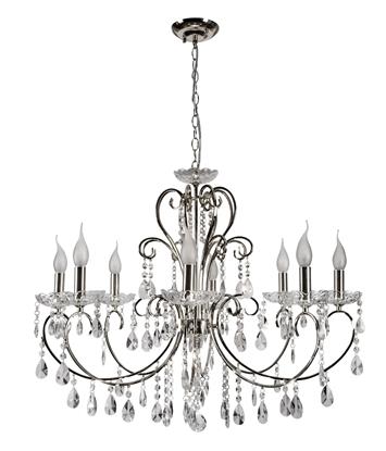 Lampa wisząca chromowa z kryształami żyrandol 8x40W Aurora Candellux 38-97579