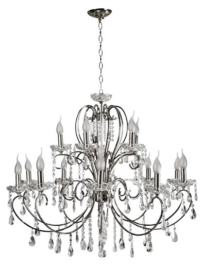 Lampa wisząca chromowa z kryształami żyrandol 15x40W Aurora Candellux 30-97586
