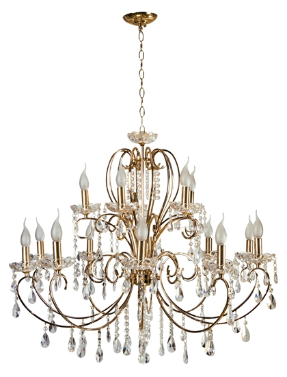 Lampa wisząca złota z kryształami żyrandol 15x40W Aurora Candellux 30-99801