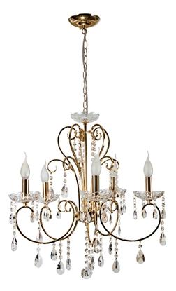 Lampa wisząca złota z kryształami żyrandol 5x40W Aurora Candellux 35-08575