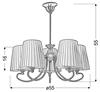 Elegancki klasyczny pięcioramienny żyrandol wykonany z metalu i płótna stylizowany pod przestronne pomieszczenia Candellux Mozart 35-34083