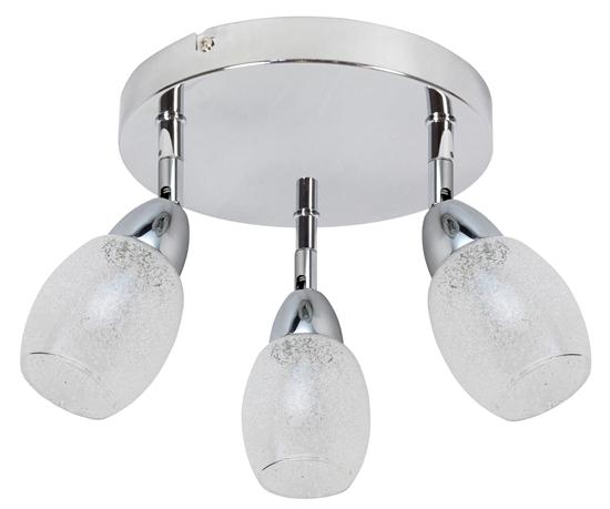LAMPA SUFITOWA  CANDELLUX RICO 98-67692 PLAFON  LED SMD GŁÓWKA OKRĄGŁA  Z PRZEGUBEM   KLOSZ WYMIENNY CHROM/BEZBARWNY
