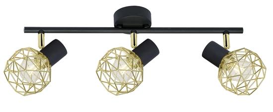 Lampa ścienna sufitowa listwa potrójna czarno-złota Acrobat Candellux 93-66640