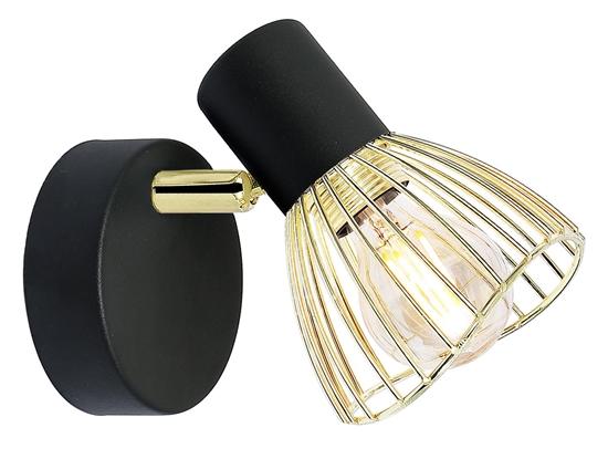 Kinkiet pojedynczy czarno-złoty lampa ścienna Fly Candellux 91-61874