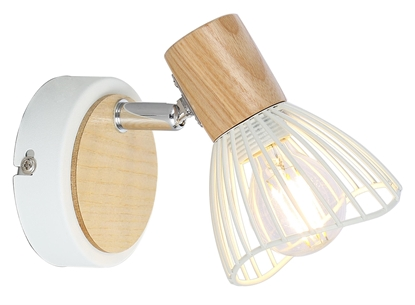 LAMPA ŚCIENNA KINKIET CANDELLUX CHILE 91-61614  E14 BIAŁY + DREWNO