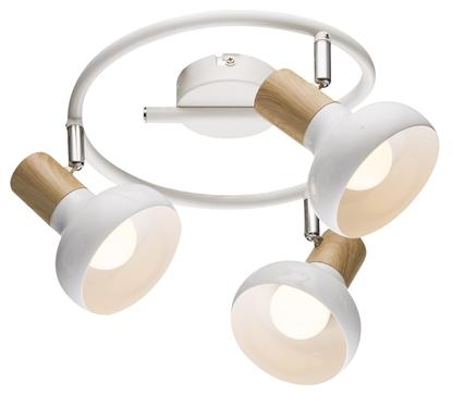 Lampa sufitowa spirala metal biała + drewno 3x40W Puerto Candellux 98-62697