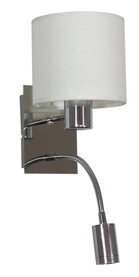 LAMPA ŚCIENNA KINKIET CANDELLUX SYLWANA 21-28648  E14 + LED Z WYŁĄCZNIKIEM CHROM / BIAŁY