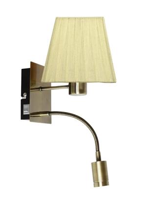 LAMPA ŚCIENNA KINKIET CANDELLUX SYLWANA 21-57167  E14 + LED Z WYŁĄCZNIKIEM PATYNA / ŻÓŁTY KWADRAT