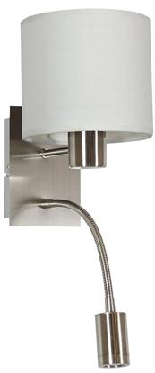 LAMPA ŚCIENNA KINKIET CANDELLUX SYLWANA 21-29362  E14 + LED Z WYŁĄCZNIKIEM SATYNA NIKIEL / BIAŁY