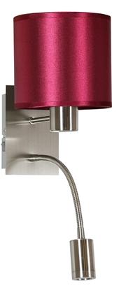 LAMPA ŚCIENNA KINKIET CANDELLUX SYLWANA 21-29416  E14 + LED Z WYŁĄCZNIKIEM SATYNA NIKIEL / BURGUND CIEMNY