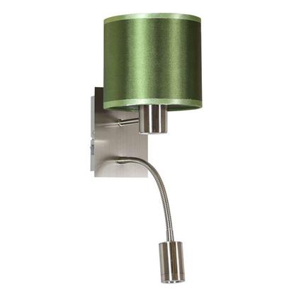 LAMPA ŚCIENNA KINKIET CANDELLUX SYLWANA 21-29447  E14 + LED Z WYŁĄCZNIKIEM SATYNA NIKIEL / ZIELONY CIEMNY