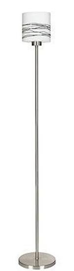 Lampa podłogowa srebrna biały klosz brązowe paski Visola Candellux 51-10356