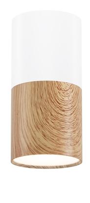 Lampa sufitowa oprawa biała/drewniana GU10 25W Tuba Candellux 2273655