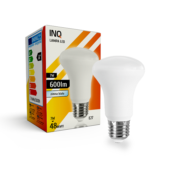 LAMPA LED  R63 E27   7W 6000K 600lm INQ