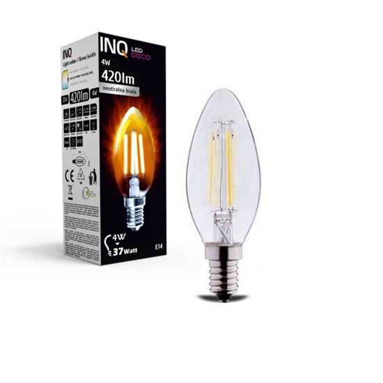 LAMPA LED  DECO 4 E14 ŚWIECZKA B35 EDISON 4W 420lm 4000K INQ