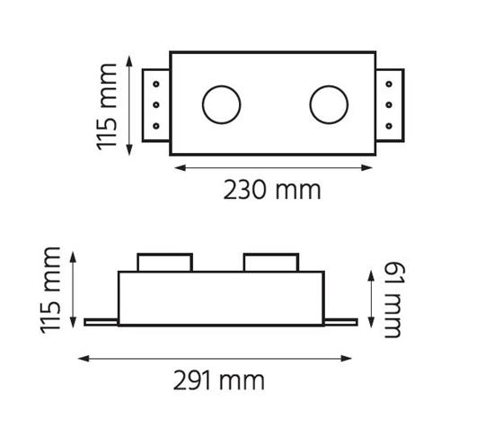 Oprawa OZZO p/t QBOX2 BL AR111 GU10 bezramkowa czarna