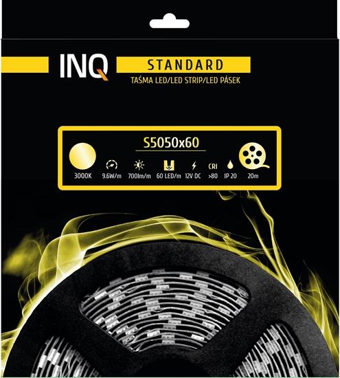 Taśma LED S5050x60 9,6W 700lm/m 3000K IP20 RA80 20m INQ