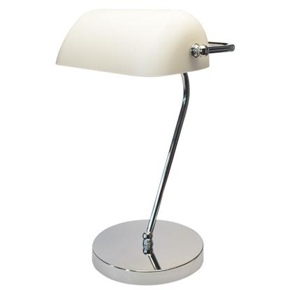 Lampka E27 BANKER Chrom/Biały gabinetowa