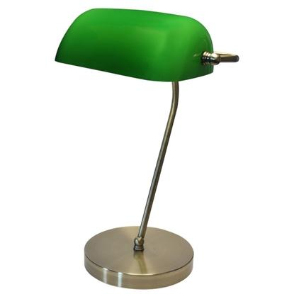 Lampka E27 BANKER Mosiądz/Zielony gabinetowa