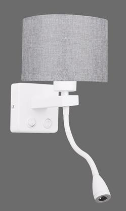Kinkiet biały/szary z lampką do czytania LED Polo Candellux 21-75383