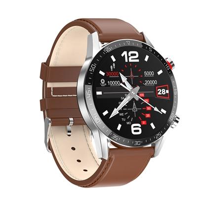 SM40/2-L13 PROMIS, Smartwatch męski,srebrna koperta,brązowy pasek skórzany