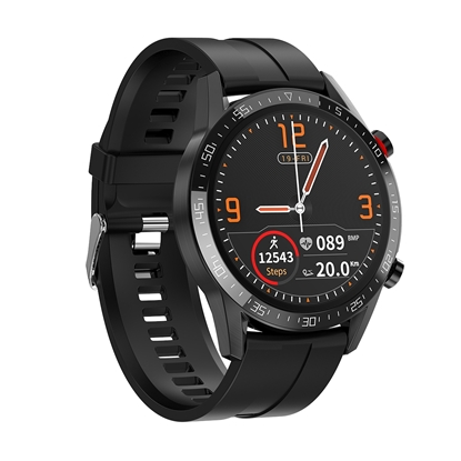 SM40/4-L13 PROMIS, Smartwatch męski,czarna koperta,czarny pasek silikonowy