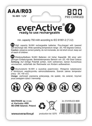 2 x akumulatorki everActive R03/AAA Ni-MH 800 mAh ready to use