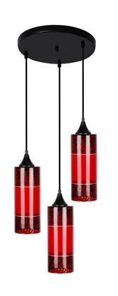LAMPA WISZĄCA CANDELLUX PLAZMA TALERZ 3X60W E27 CZERWONY