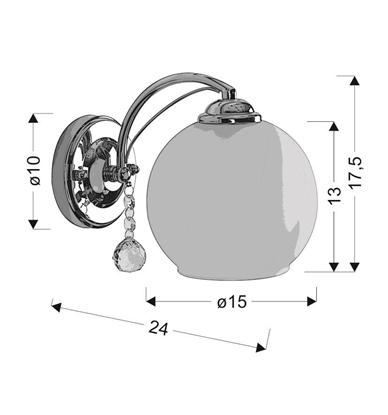 Kinkiet chromowany z kryształem biały klosz Candellux Alyson 1X40W E27 biały