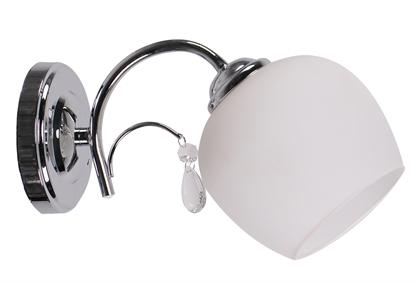Kinkiet chrom szklany biały klosz z kryształem 40W Zachera Candellux 21-76984