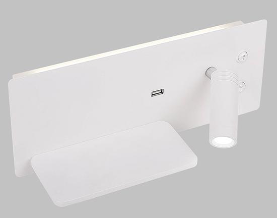 Kinkiet hotelowy podświetlana półka biała z ładowarką USB LED