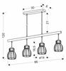 Lampa wisząca czarna 4x60W Bernita Candellux 34-78117