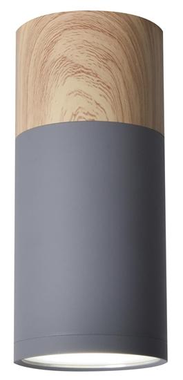 Lampa sufitowa szaro-drewniana 6,8x15cm Tuba Candellux 2284279