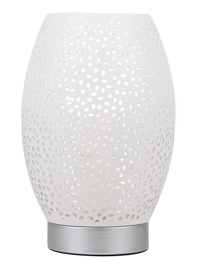 Lampka nocna stołowa ażurowa biało-srebrna Venus Candellux 41-78322