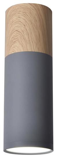 Lampa sufitowa szaro-drewniana 6,8x20cm Tuba Candellux 2284286