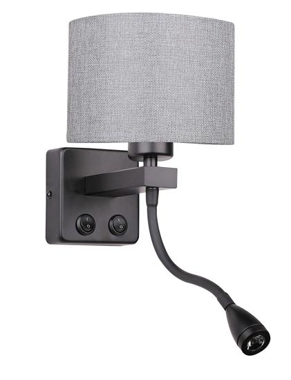Kinkiet hotelowy z lampką do czytania LED czarno-szary Polo Candellux 21-75499