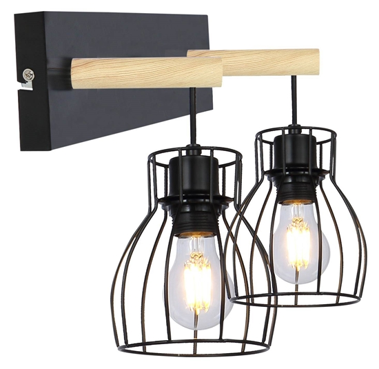 Lampa czarna kinkiet podwójny Bernita Candellux 22-77103
