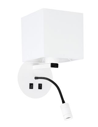 Kinkiet biały hotelowy z lampką do czytania LED Magnum Candellux 21-75659