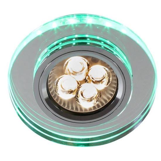 Oprawa Stropowa Oczko Candellux Ss-23 Ch/Tr+Wh Gu10 50W+Led Smd 230V Zielony Chrom Okrągła Szkło Transparentne