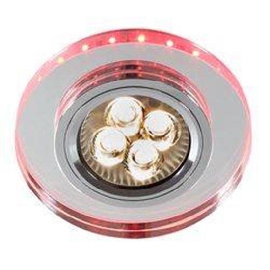 Oprawa Stropowa Oczko Candellux Ss-23 Ch/Tr+Wh Gu10 50W+Led Smd 230V Czerwono różowe Chrom Okrągła Szkło Transparentne