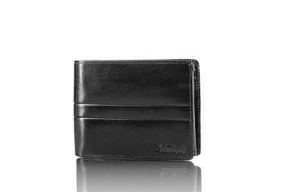Balticus - portfel ze skóry cielęcej, czarny z przetłoczeniem
