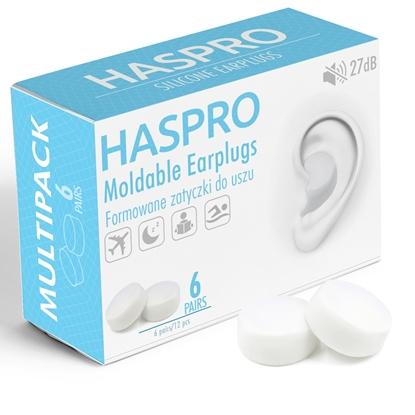 HASPRO Formowane zatyczki do uszu – 6 PAR Biały