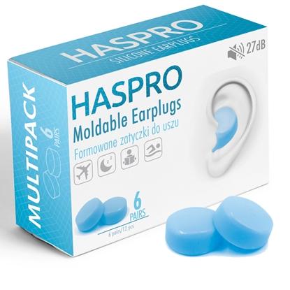HASPRO Formowane zatyczki do uszu – 6 PAR Niebieski