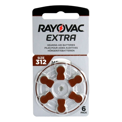 6 x baterie do aparatów słuchowych Rayovac Extra Advanced 312