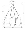 Lampa wisząca czarna matowa 4x40W regulowana E27 Alto Candellux 34-70913