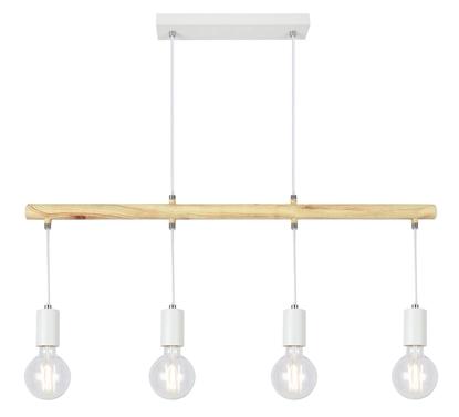 Lampa wisząca biała + drewno 4x60W Izzy Candelux 34-78100