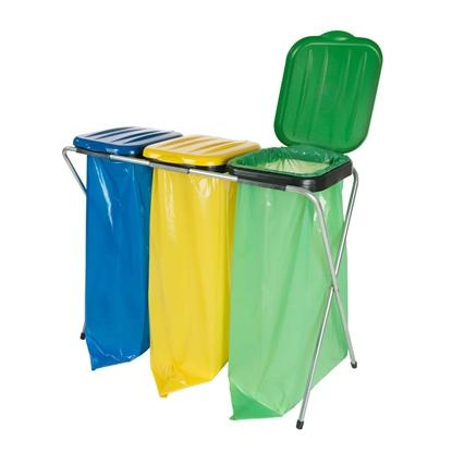 Stojak uchwyt na worki na śmieci 120L do segregacji 3 rodzajów odpadów