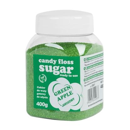 Kolorowy cukier do waty cukrowej zielony o smaku jabłkowym 400g