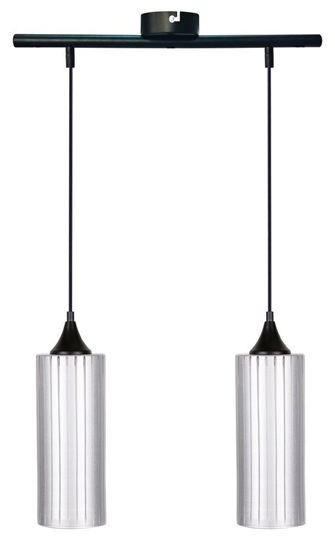 Lampa wisząca srebrna szklany klosz 2x60W E27 Concept Candellux 32-78629